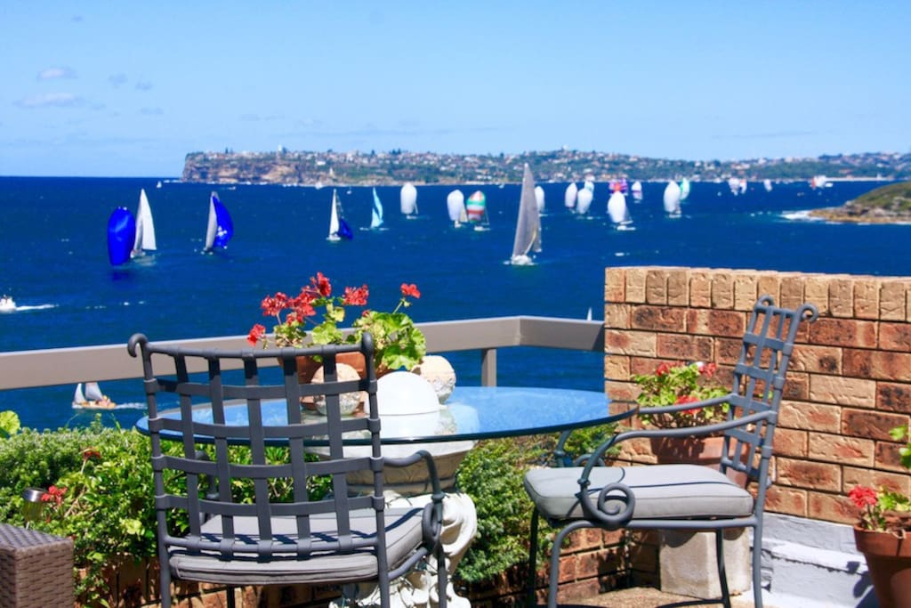 Dining table overlooking yacht racing