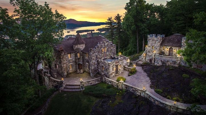 'The Castle Cottage' (and Highlands Castle) overlooking Lake George.