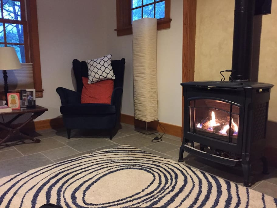 Enjoy a good read in the cozy living room.