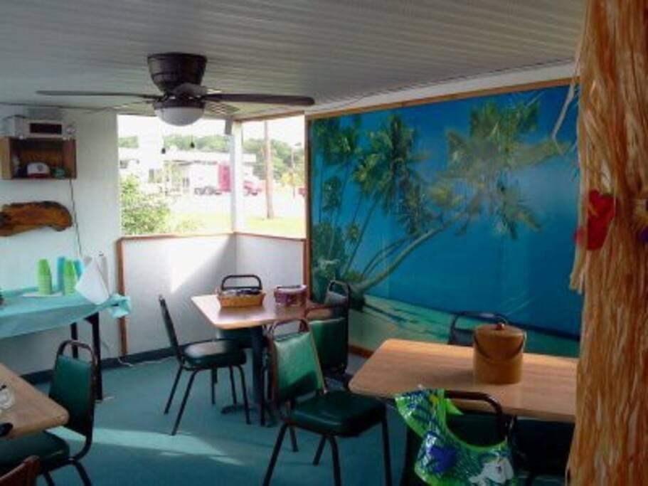 Pool house and tiki bar.