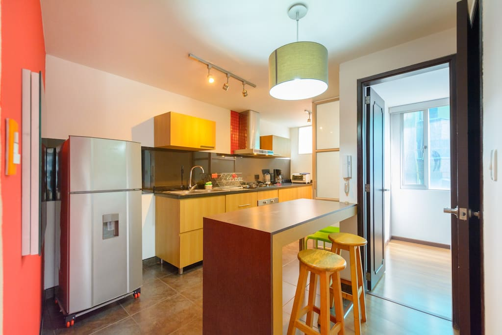 The kitchen, on the left as you enter the apartment