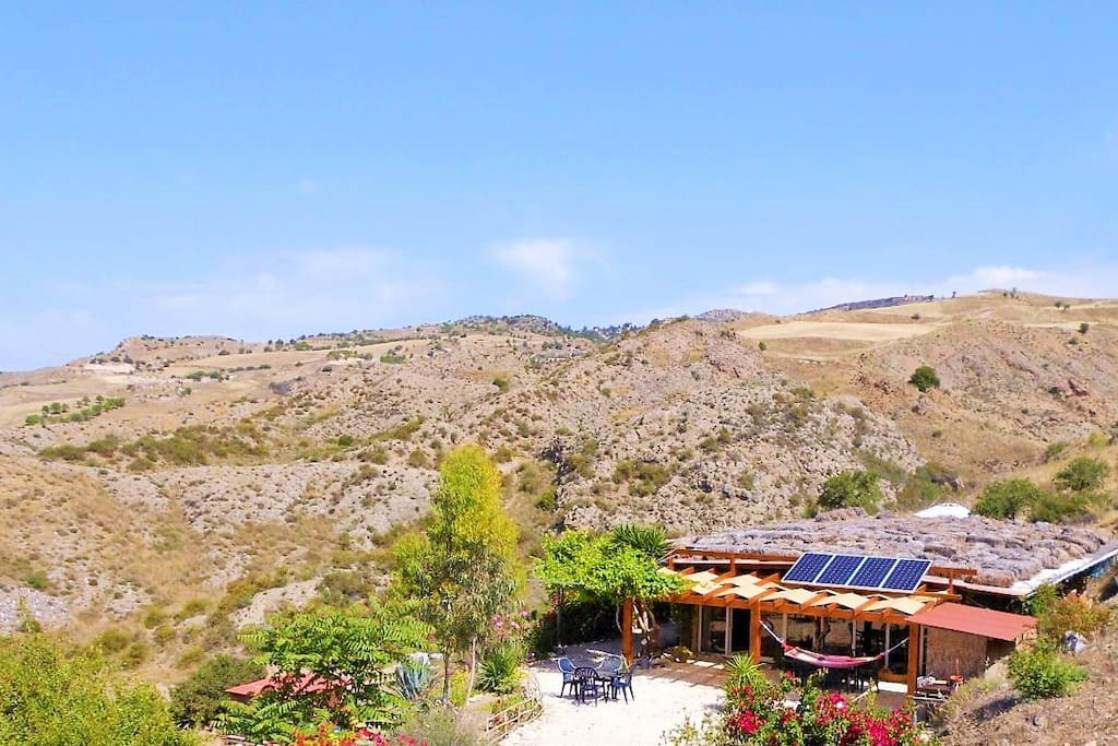 The Straw House is the focal point of Yurts in Cyprus.