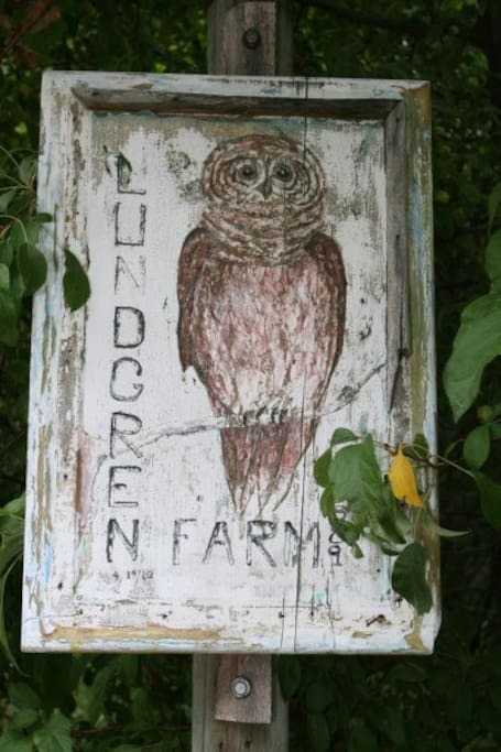 The entry sign to the Lundgren Tree Farm, painted by Vic Lundgren.