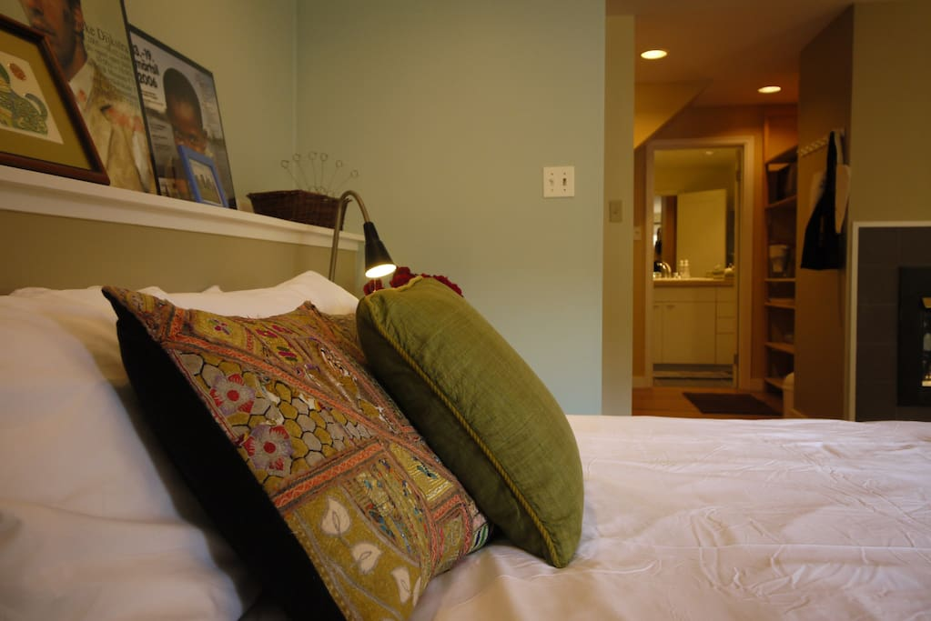 From the bed, looking towards kitchenette area and bathroom.