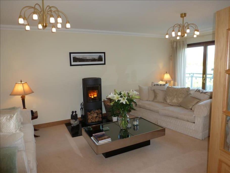 Comfortable lounge with Log Burner