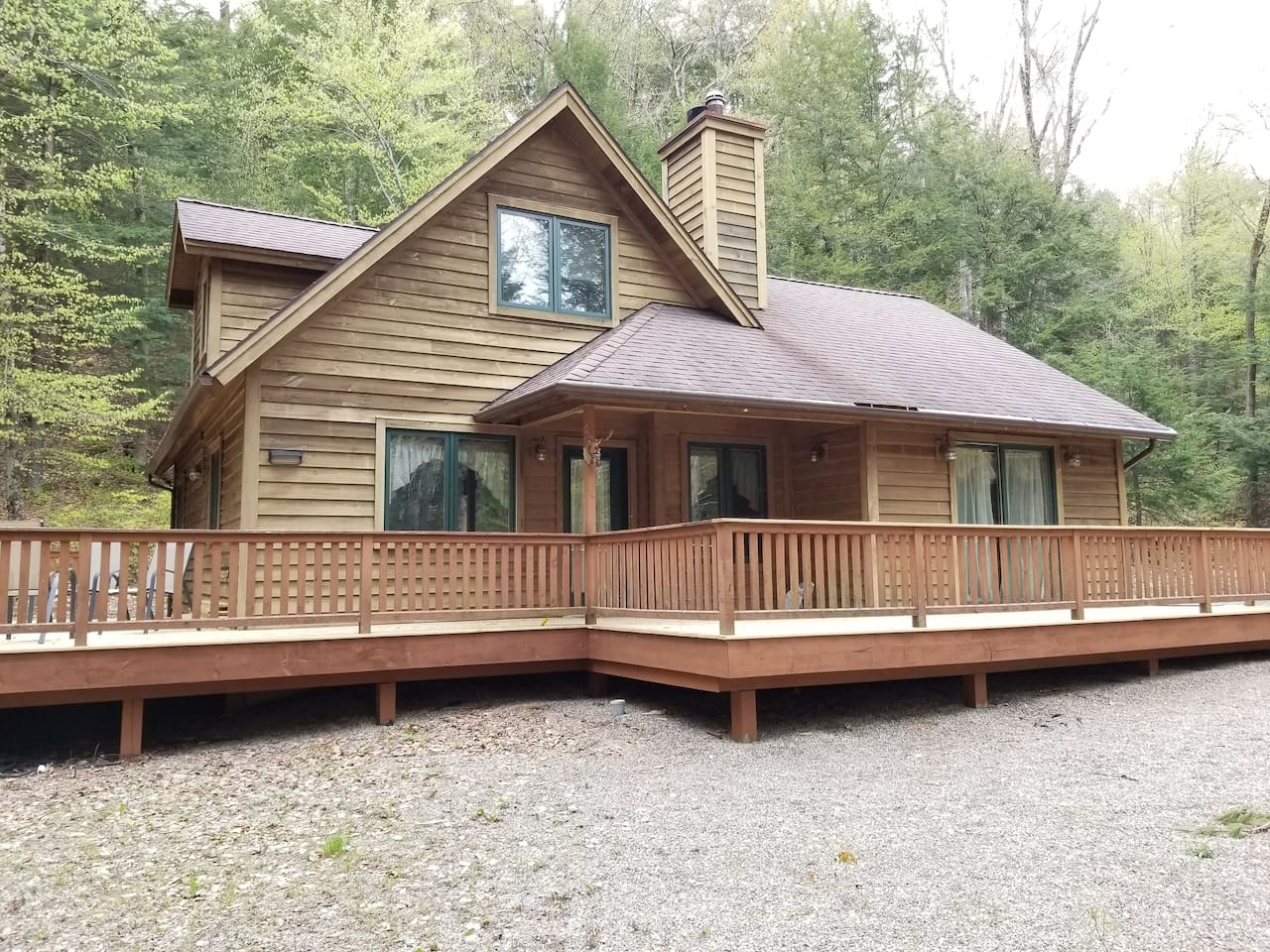 Updated cabin in quiet country setting. Outdoor space includes patio set for six, grill, and two Adirondack chairs.