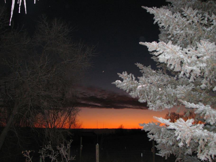 Winter sun set as seen from our deck.