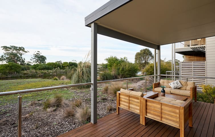 Rear deck overlooking wet lands