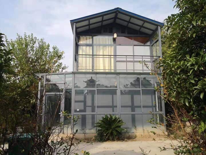 太湖盆景园玻璃墙景观独栋花园别墅超大露台帐篷露营