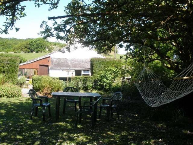 1/4 acre garden, tables & chairs, hammock, apple tree