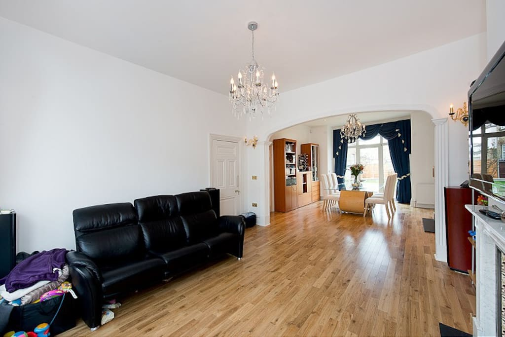 Double reception room/dining area, TV flat screen 52 inch