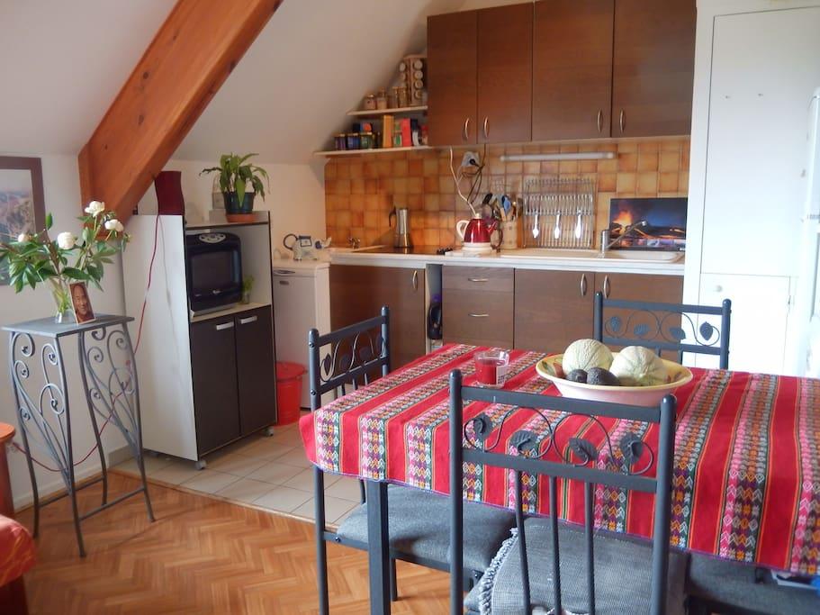 Main room with a view, salon cuisine, avec vue.