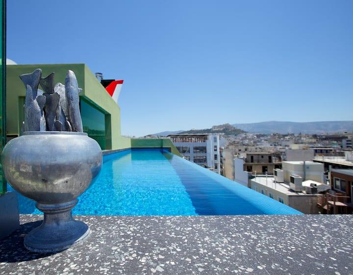 Luxury 1Bdrm Apt with pool-Athens Center