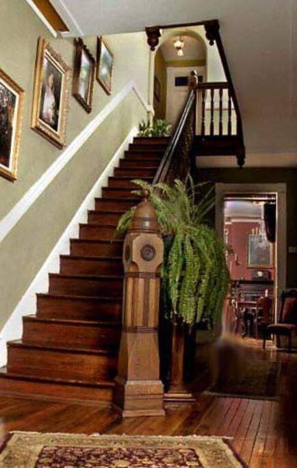 Beautiful staircase up to the guest rooms.