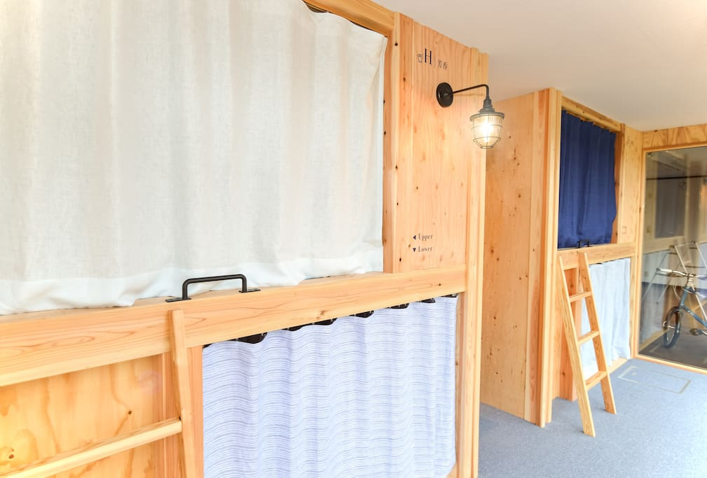 Wooden bunk beds keep you quiet stay.
