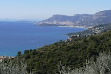 View to the West over Menton and Monaco