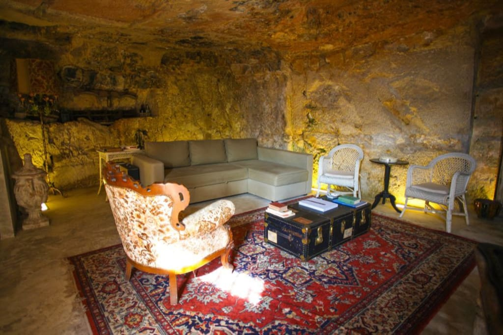 Living room in a XI century grotto