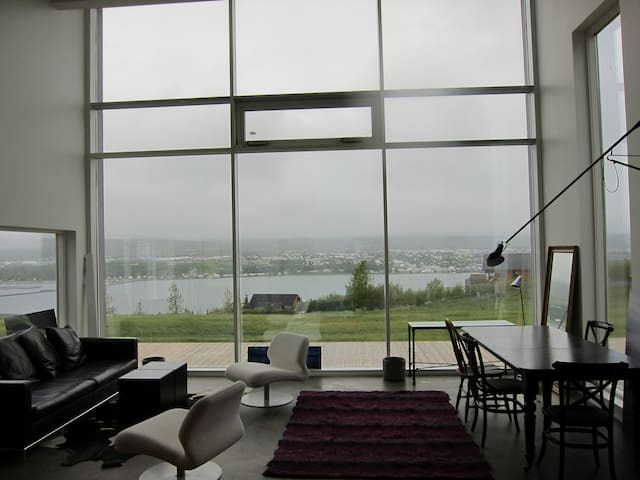 The beautiful view over Eyjafjordur over to Akureyri