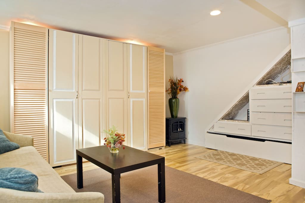 Murphy Hide-away bed. Closets on either end