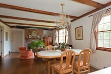 A home cooked breakfast may be available on request,  depending on schedules.  It is served in the downstairs family room area  of the house, which is  available to long term guests on a scheduled basis.