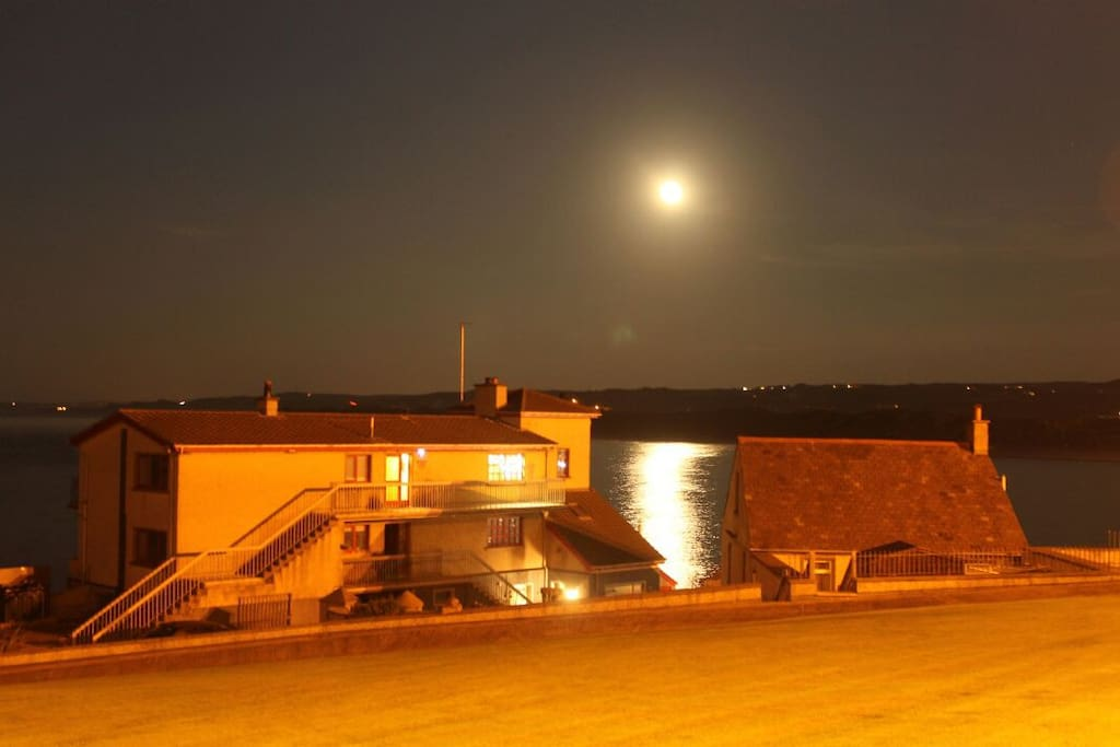 Nightime view of the entire fishery, cottage is the roof on the right