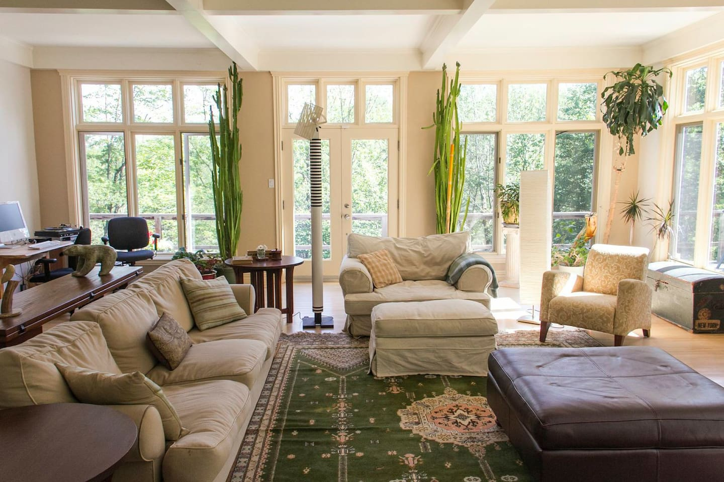 Expansive shabby chic living room.