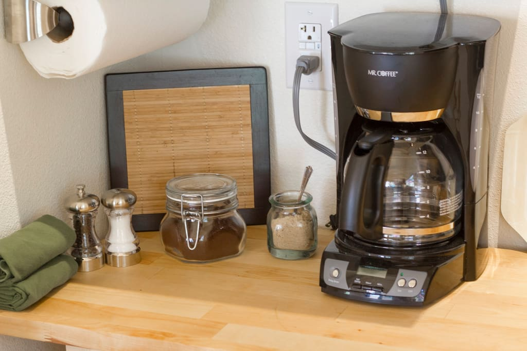 Guests will have access to a coffee maker, French press and an electric tea pot.