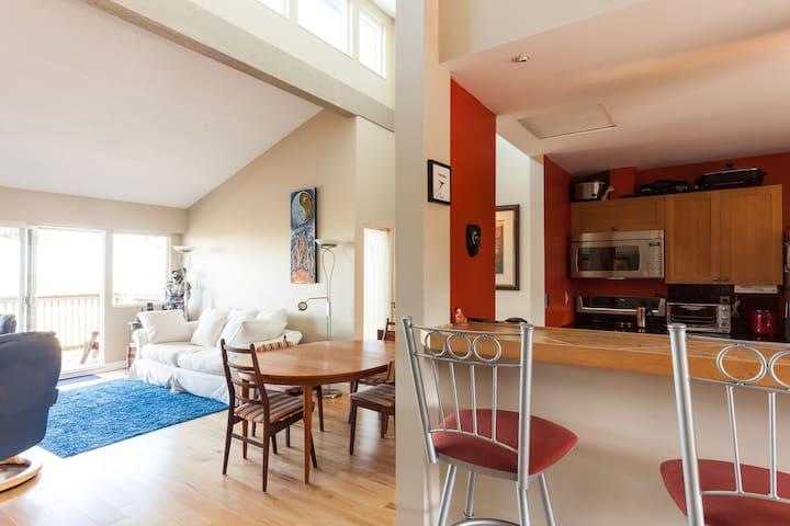 Living room - dining room - bar area & kitchen