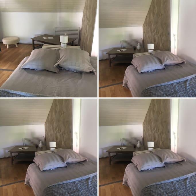 Chambre avec lit double et place pour installer un lit bébé