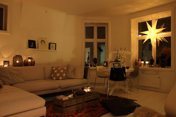 The living room at night - warm and cozy