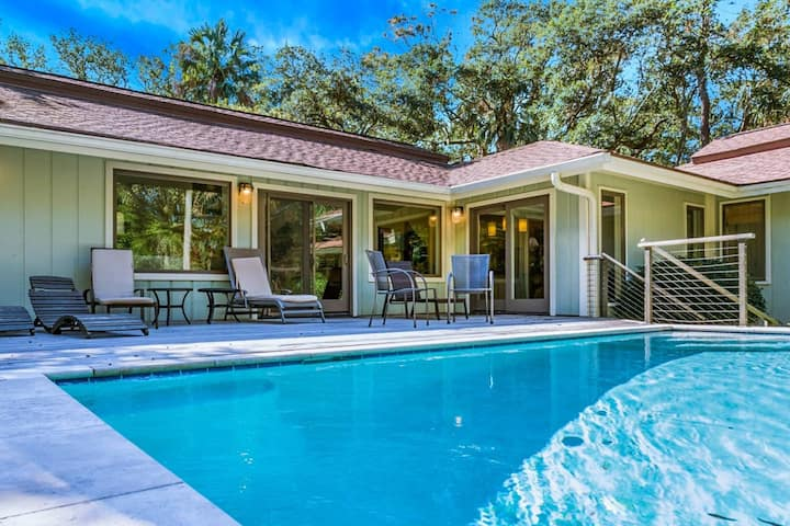 Under Full, Luxury Renovation!  Private Heated Pool, Two Master Suites & Bunk Room.  Steps to Beach.