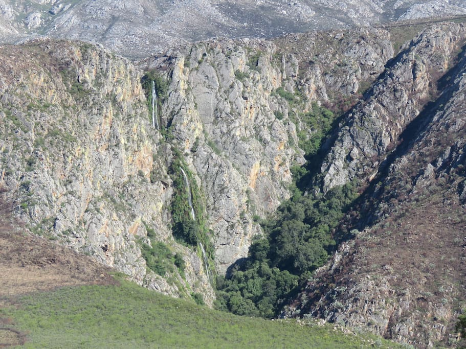 Waterfall view from Swartberg Backpackers