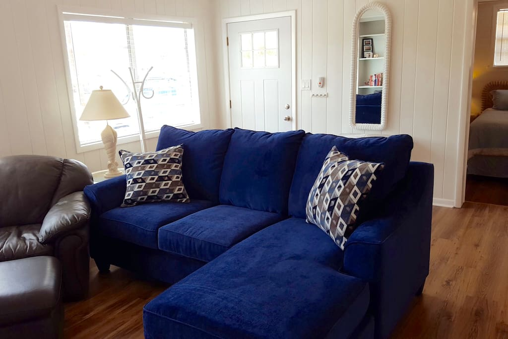 Plush sofa and leather chair