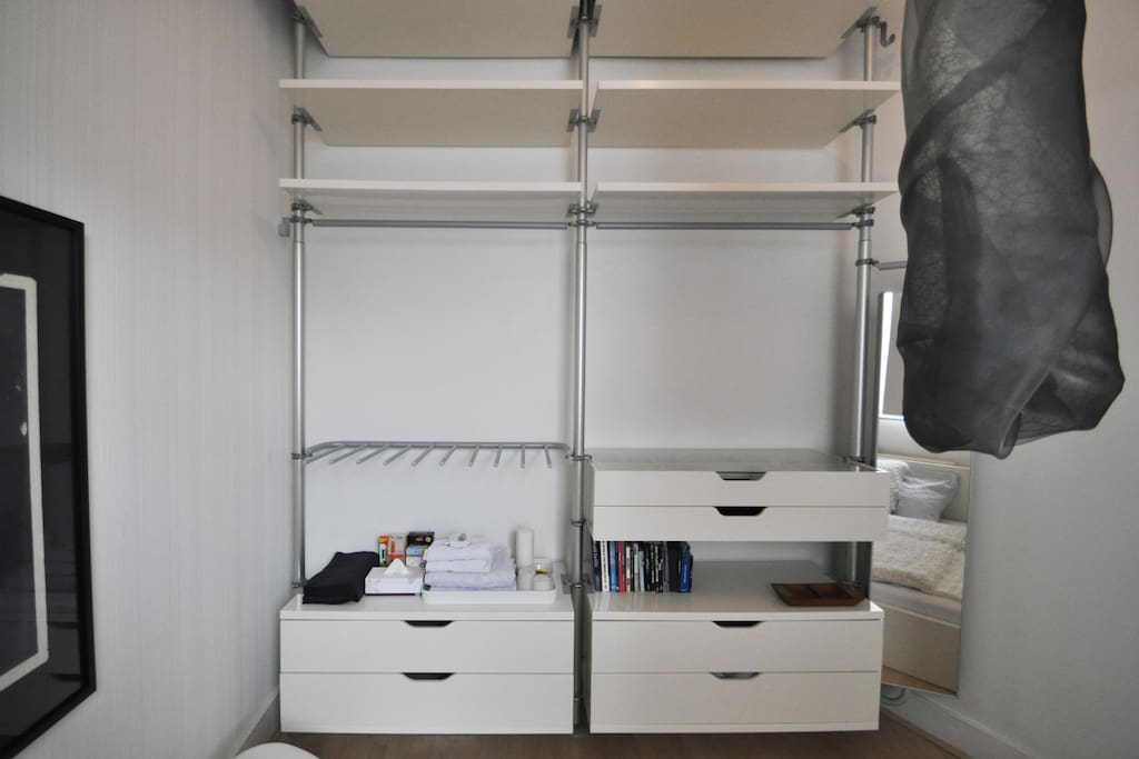 Storage unit in bedroom
