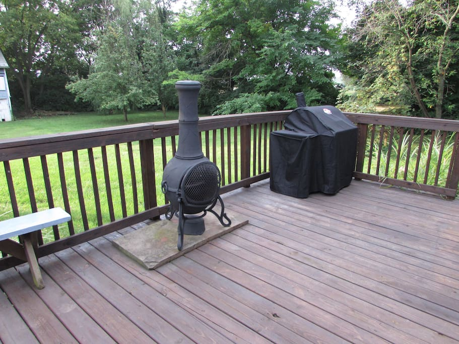large deck with a chimney, for cool fall nights