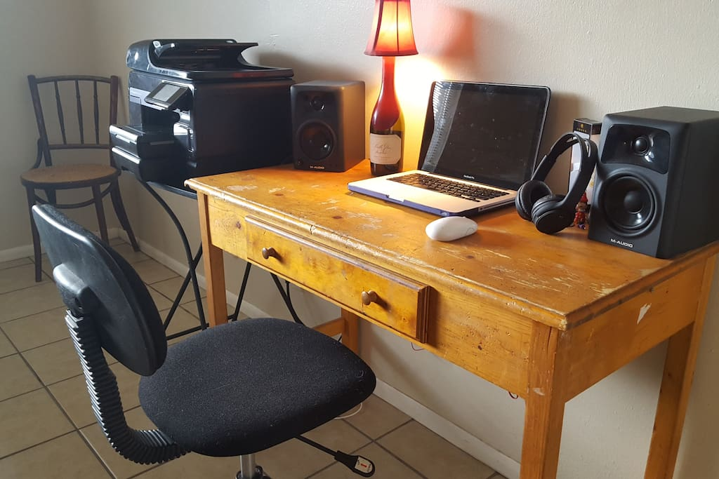 Desk and Printer Available with nice sound. Laptop it's in the picture for decorative purposes. I bet you have one.