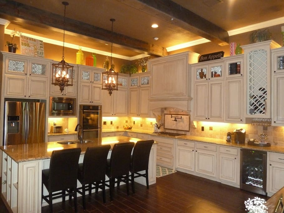 Kitchen with coffee/wine bar area.