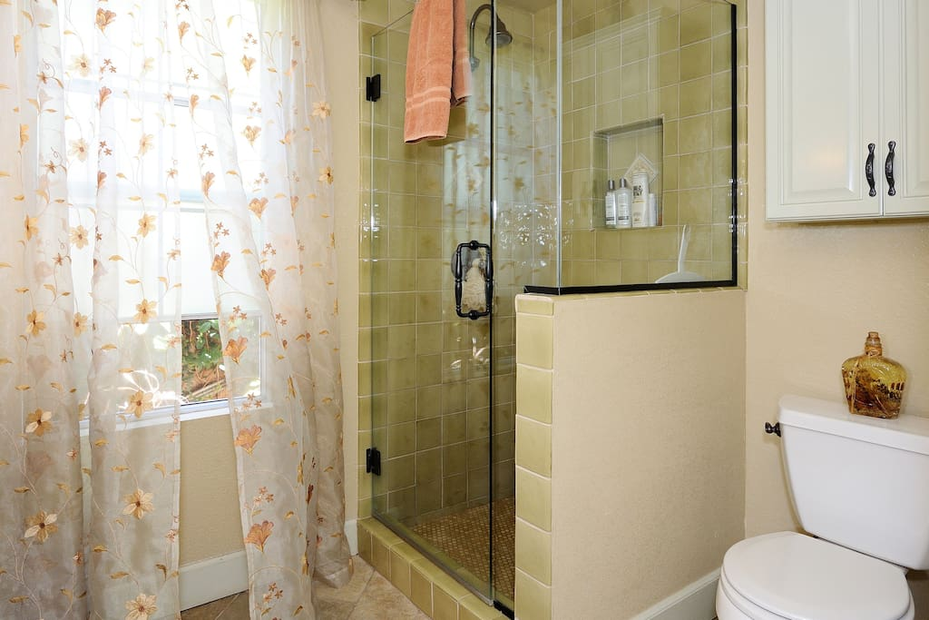 Your shower has plenty of hot water, shampoo, rinse, toothpaste as well as soap and a  hairdryer.
