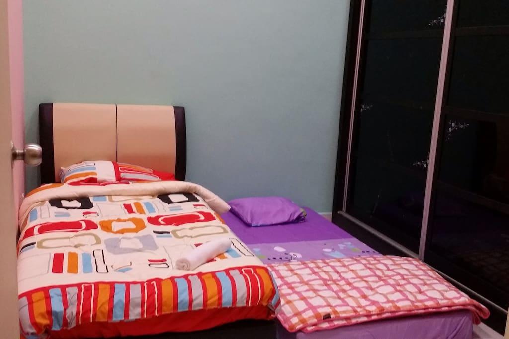 Second Bedroom with wardrobe , 2 single mattress