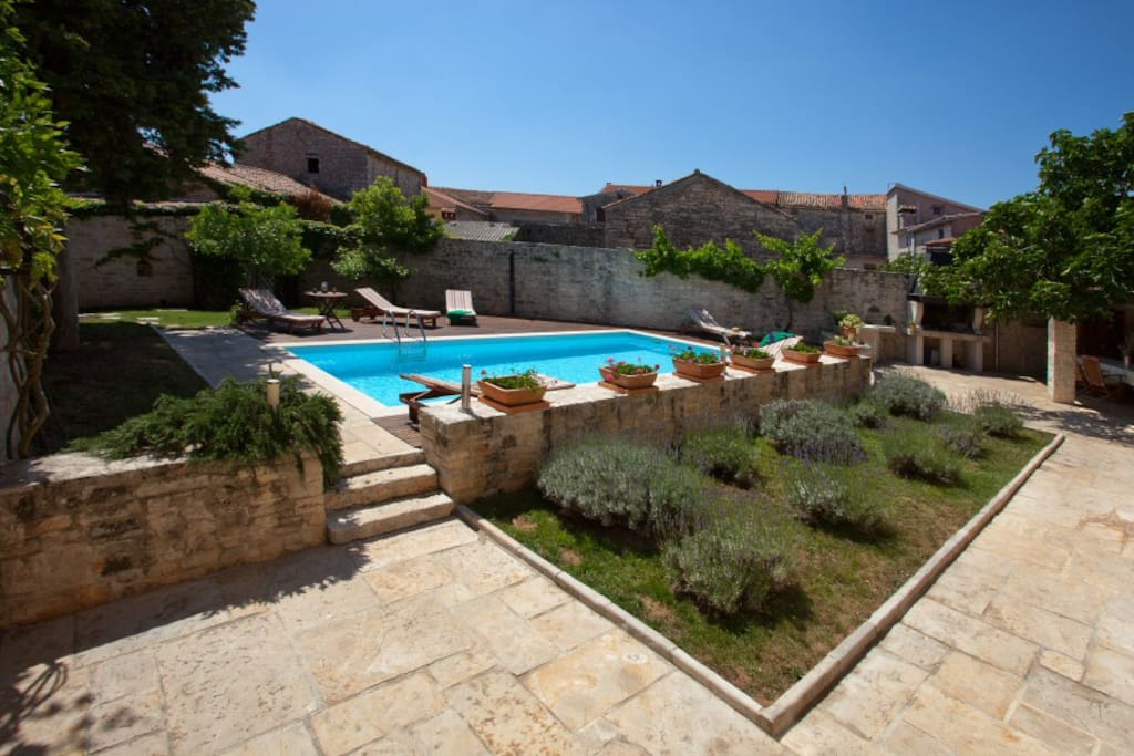 courtyard with the pool