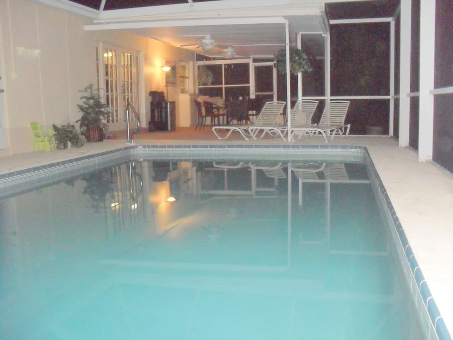Private pool and loungers