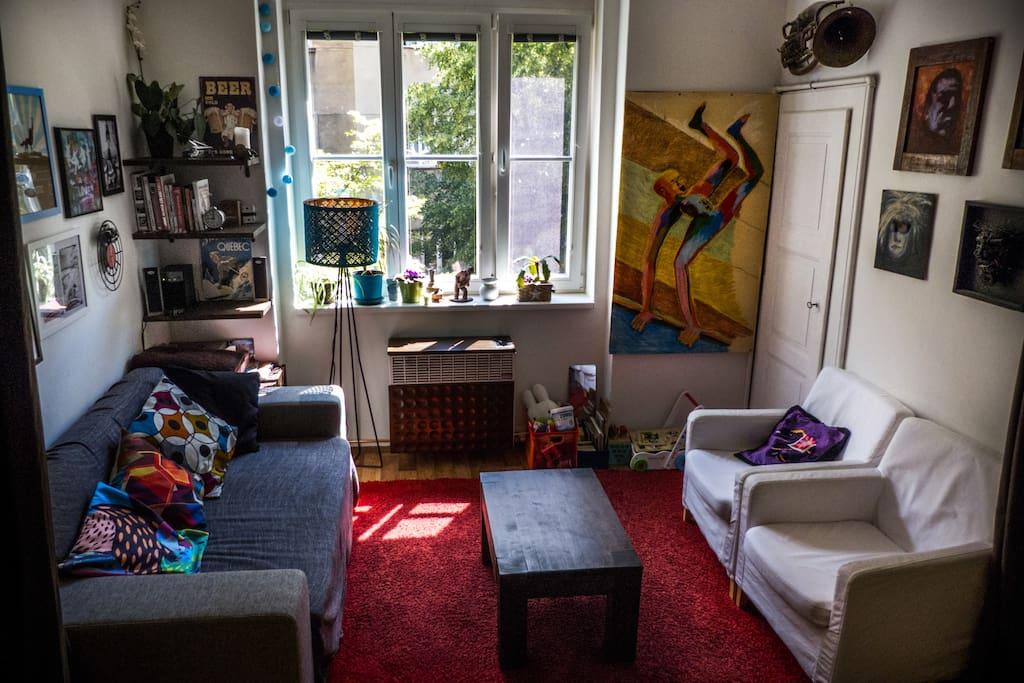 Living room with super cozy sleeper sofa