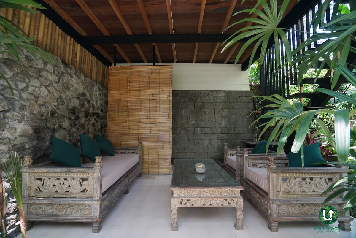 Private Living Room Private Living Room & Family Tent Glamping Ubud - Tents for Rent in Ubud Bali Indonesia
