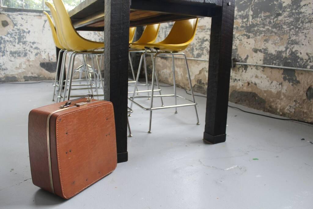 Custom table & Eames Chairs.