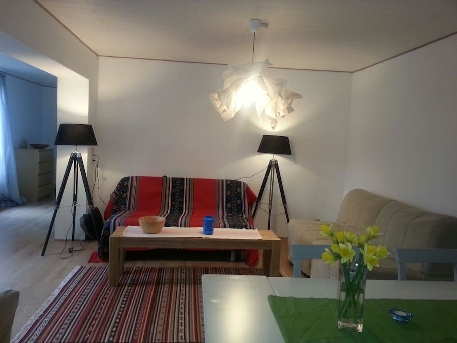 Living area, double sofa bed and two single sofa beds