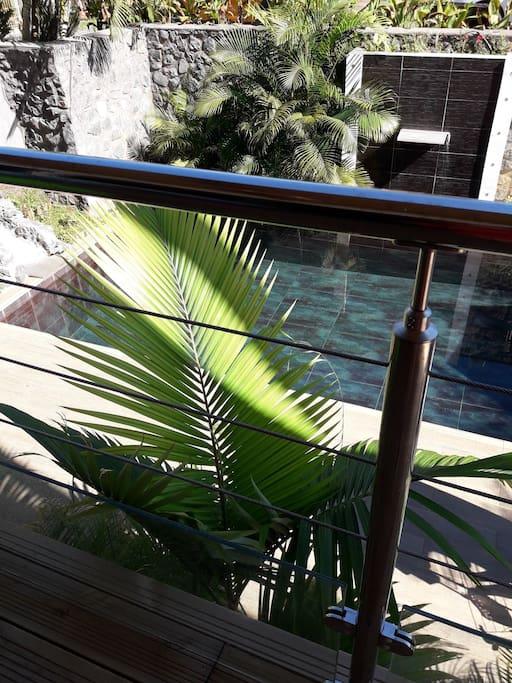 vue de la terrasse sur la cours intérieure