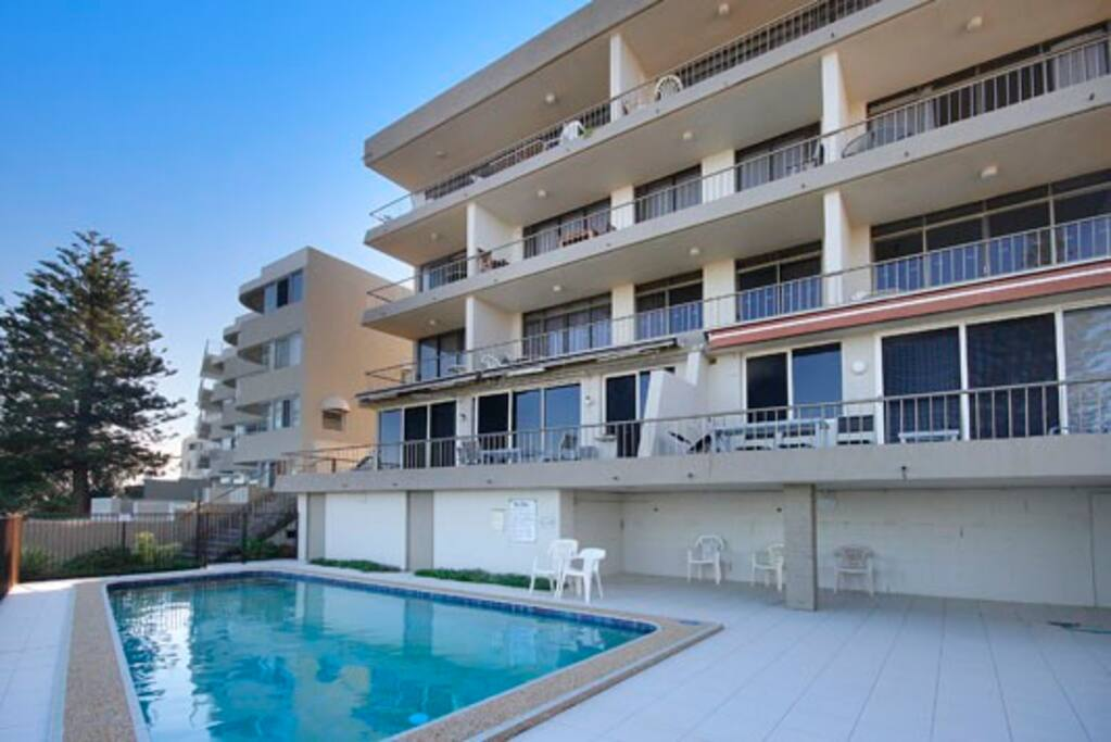 Middle unit on middle floor. Balcony runs full length of living area and both bedrooms.