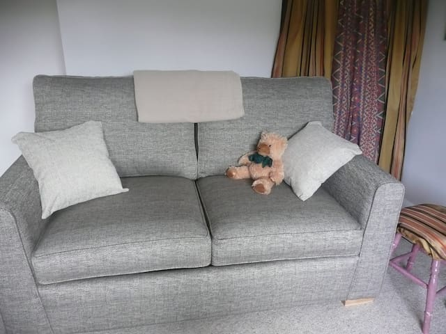 Our new pocket sprung mattress sofa bed in our second room. This room sometimes doubles as a lounge/sitting room but this sofa is  a comfy second bed in emergencies or when two doubles are required.