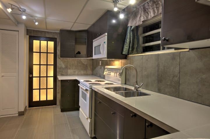 Brand new full kitchen, outfitted with everything you need for cooking.