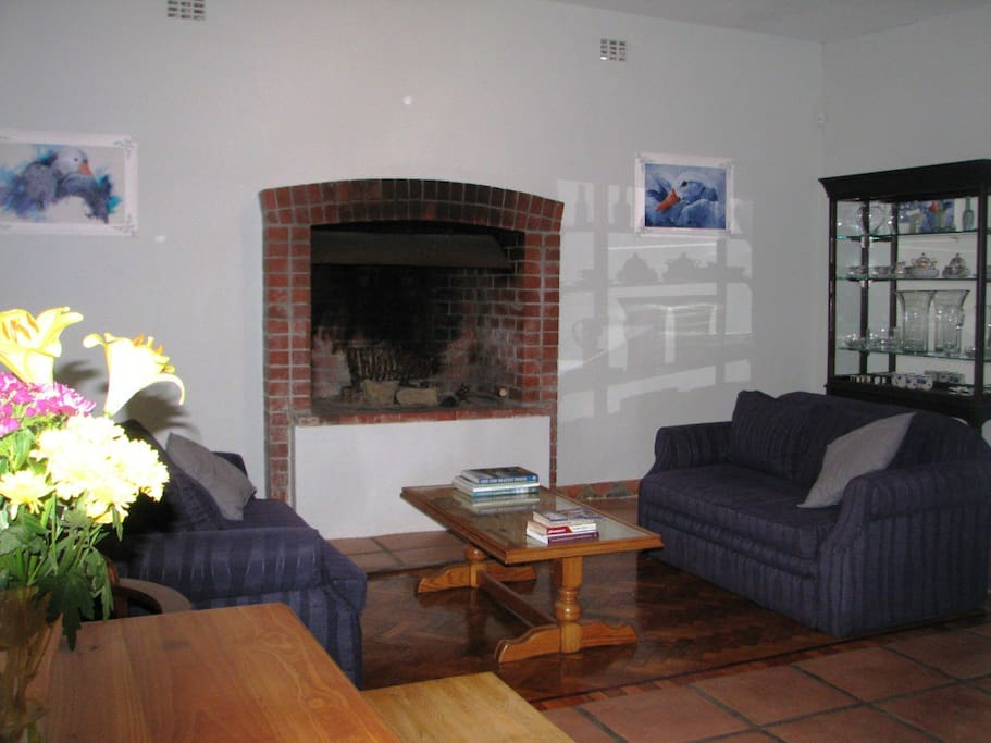 Large Fireplace with 2 double-bed sleeper couches